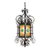 Ornate American 19th Century Iron & Tole Hanging Lantern, Colored Glass Panels