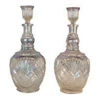 Pair Identical Clear Pressed Glass Whiskey Decanters w/ Original Stoppers C. 1900