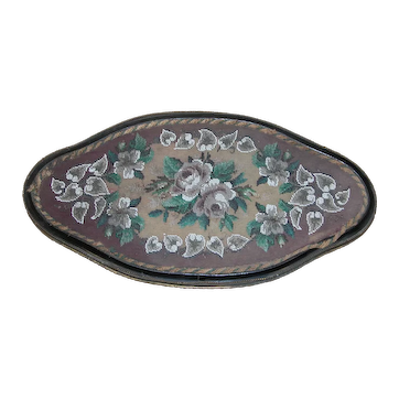Victorian Beadwork and Wool Work Floral Embroidery Tray, circa 1860- 1870