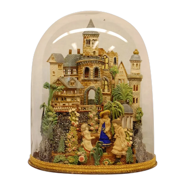 Large Early 19th Century Composition Diorama under Original Glass Dome