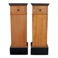 Pair Biedermeier Pedestals circa 1800-1830 with Black Lacquered Tops & Drawers