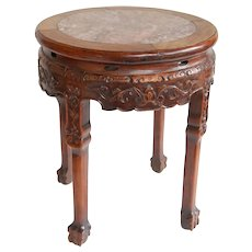 19th Century Circular Chinese Carved Rosewood Table w/ Marble Top
