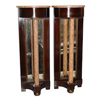 Pr. Early 20th Century Regency Style Mahogany Demilune Console Tables