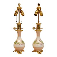 Pair of Mid 19th Century Porcelain Hand-Painted French or English Oil Lamps