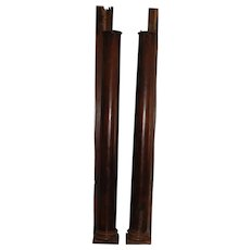 Pair of Half Round Walnut Tapered Columns, circa 1850