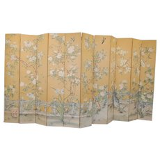 Large Eleven-Panel Hand Painted on Silk Folding Chinese Screen, circa Late 1960s