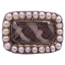 """Memento Mori"" Antique Georgian Mourning Hair Set Brooch with Pearl Border"