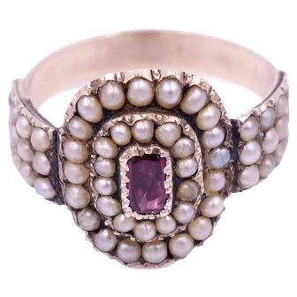 Antique Georgian Pearl and Foiled Back Pink Sapphire Ring
