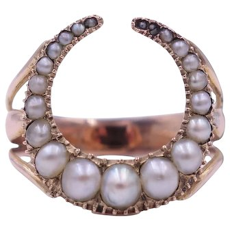 Victorian Pearl Crescent Moon Ring