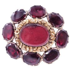 Georgian Garnet Mourning Brooch with Inscription