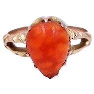 Antique Victorian Fire Opal and 15 Karat Gold Claw Set Ring