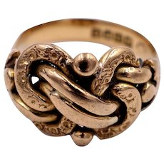 Antique Victorian 18 K Gold Lover's Knot Keeper Ring