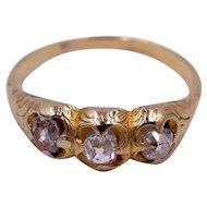 Antique Victorian Three Stone Old Mine Cut Diamond Ring