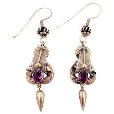 Antique Long Victorian Garnet Drop Earrings