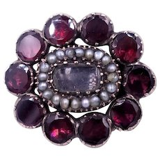 Antique Georgian Flat Cut Garnet, Pearl and 14 K  Gold Mourning Brooch