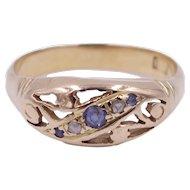Antique Edwardian Art Nouveau Sapphire and Diamond 22 Karat Gold Ring