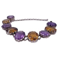 Late Victorian Citrine and Amethyst Bracelet