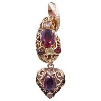 Antique Victorian 9 Karat Gold, Garnet and Chrysoberyl Snake Pendant with Heart Shaped Locket Drop
