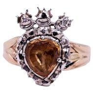 Antique Georgian Foil Back Topaz Crowned Heart Ring