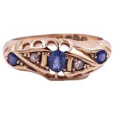 Antique Edwardian 1914 Sapphire, Diamond 18 Karat Gold Hallmarked Ring