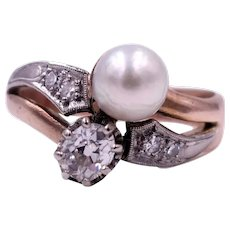 Antique Edwardian Engraved 1903 Diamond and Pearl Toi et Moi Crossover 14K Gold and Platinum Ring