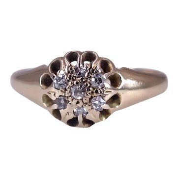 Antique Victorian Circa 1880 Diamond Cluster 18K Gold Ring