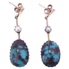 Antique Edwardian Circa 1910 Turquoise, Pearl 9K Gold Drop Earrings