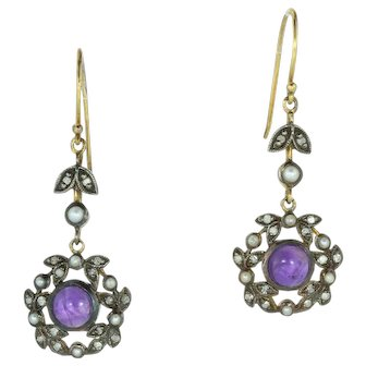Belle Époque Diamond, Seed Pearl and Amethyst Cabochon Drop Earrings