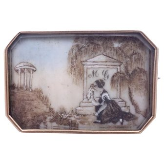 Victorian Hand Painted Mourning Brooch