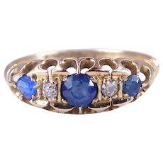 Antique Edwardian 1911 18 Karat Gold Hallmarked Sapphire Diamond Ring