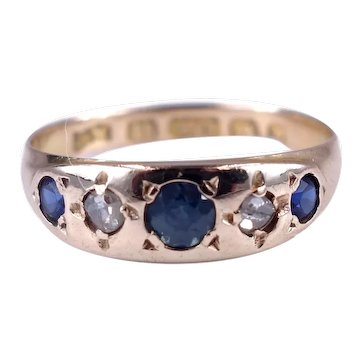 Antique Victorian 1887 15K Gold Sapphire and Diamond Gypsy Set Ring