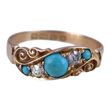 Antique Victorian 1899 18K Gold, Turquoise and Diamond Ring