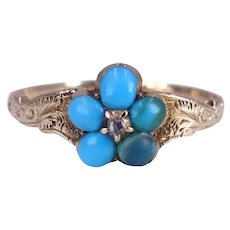 Antique Victorian Circa 1850 Turquoise and Rose Cut Diamond 18K Gold Ring Size 6