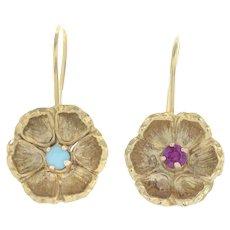Antique Victorian c. 1870 Turquoise and Garnet Set 18K Gold Flower Earrings