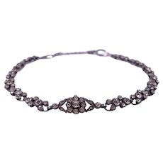 Antique Victorian c. 1850 Floral Silver Paste Choker Necklace