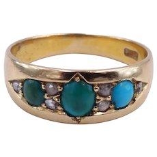 Antique Edwardian c. 1905 Gypsy Set Turquoise and Diamond 18K Gold Ring