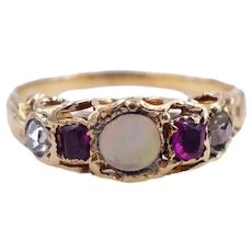 Antique Early Victorian c. 1840 Opal, Ruby and Old Mine Cut Diamond 18K Gold Ring