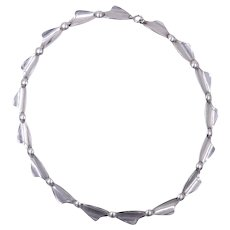 Vintage Mid-Century Modern 1960s Swedish Sterling Silver Link Necklace