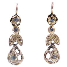 Antique Georgian C. 1740 18K Gold and Rose Cut Diamond Earrings with Bee Motif