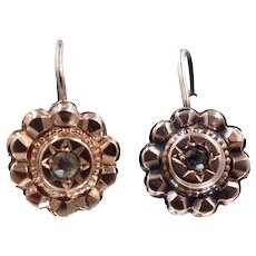 Antique Victorian C. 1880 14K Gold and Diamond Circular Earrings
