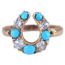 Antique Victorian C. 1880 Turquoise Diamond Horseshoe 14K Gold Ring