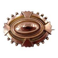 Antique Victorian c. 1870 Rose Gold Etruscan Revival Locket Back Brooch