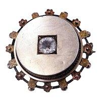 Antique Victorian c. 1880 Gold Gilt and Paste Set Locket Back Brooch