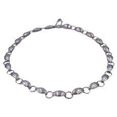 Vintage Mid-Century Modern C. 1950 Silver and Black Enamel Necklace