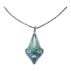 Antique Art Nouveau c. 1910 Edwardian Blue Green Enamel Silver Pendant Necklace