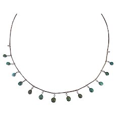 Antique Edwardian c. 1915 Turquoise and Silver Swag Garland Necklace