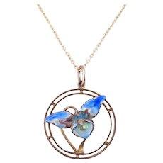 Antique Art Nouveau c. 1910 Blue Enamel Orchid Gold Necklace