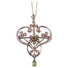 Antique Belle Époque Victorian c. 1900 Peridot and Pearl Set Gold Pendant Necklace Brooch