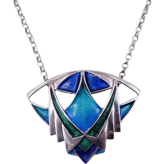 Vintage Art Deco c. 1925 Blue, Green Enamel Sterling Silver Brooch Pendant Necklace