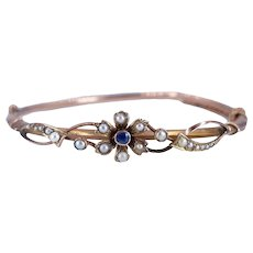 Antique Edwardian c. 1910 Sapphire and Pearl Rose Gold Bangle